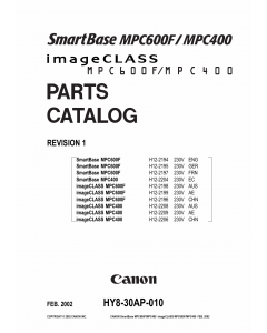 Canon SmartBase MPC400 600F Parts Catalog Manual