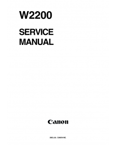 Canon Wide-Format-BubbleJet BJ-W2200 Parts and Service Manual