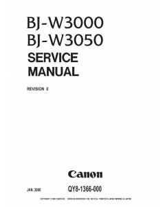 Canon Wide-Format-BubbleJet BJ-W3000 W3050 Parts and Service Manual