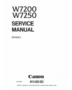 Canon Wide-Format-InkJet W7200 W7250 Service and Parts Manual