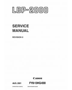 Canon imageCLASS LBP-2000 Service Manual