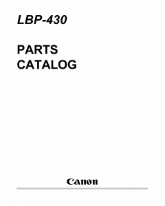 Canon imageCLASS LBP-430 Parts Catalog Manual
