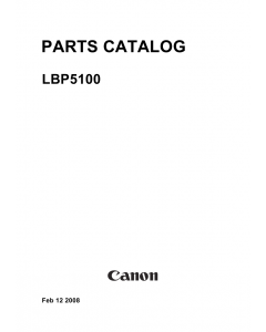 Canon imageCLASS LBP-5100 Parts Catalog Manual