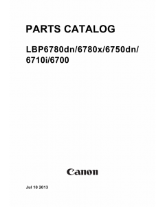 Canon imageCLASS LBP-6780dn 6780x 6750dn 6710i 6700 Parts Catalog Manual