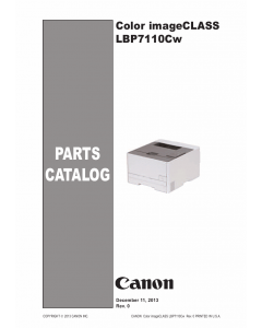 Canon imageCLASS LBP-7100C 7110Cw 7100Cn 7110C 7110Cn 7110 Parts Catalog Manual