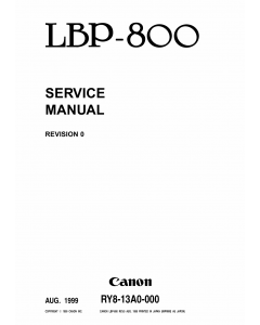 Canon imageCLASS LBP-800 Service Manual