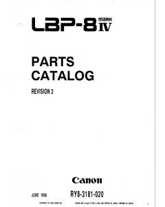 Canon imageCLASS LBP-8IV Parts Catalog Manual
