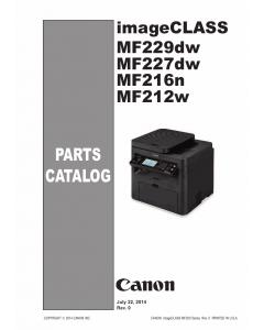 Canon imageCLASS MF-200 212w 216n 222dw 224dw 226dn 227dw MF229dw Parts Catalog Manual
