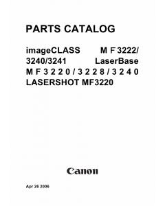 Canon imageCLASS MF-3220 3222 3228 3240 Parts Catalog Manual
