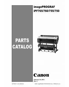 Canon imagePROGRAF iPF-765 760 755 750 Parts Catalog Manual