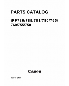 Canon imagePROGRAF iPF-786 785 781 780 Parts Catalog Manual