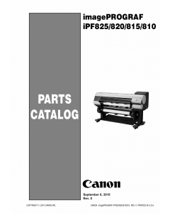 Canon imagePROGRAF iPF-825 820 815 810 Parts Catalog Manual