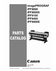 Canon imagePROGRAF iPF-9400S 9400 9100 9000S 9000 Parts Catalog Manual