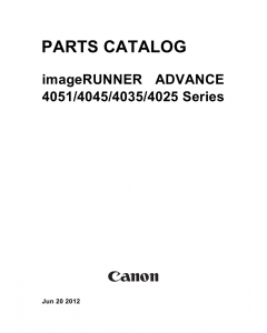 Canon imageRUNNER-ADVANCE-iR 4025 4035 4045 4051 Parts Manual