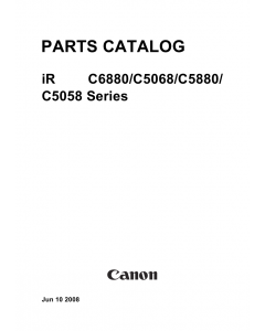 Canon imageRUNNER-ADVANCE-iR C5068 C6800 C5880 C5058 Parts Manual