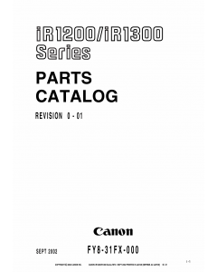 Canon imageRUNNER-iR 1200 1300 Parts Catalog