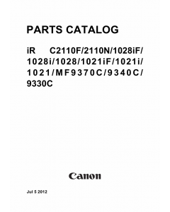 Canon imageRUNNER-iR C2110F 2110N 1028iF 1028i 1028 1021iF 1021i 1021 Parts Manual