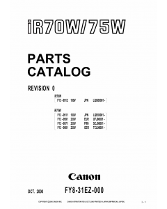 Canon imageRUNNER iR-70W 75W Parts and Service Manual