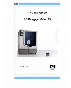 HP DesignJet 3D Color 3D Service Manual