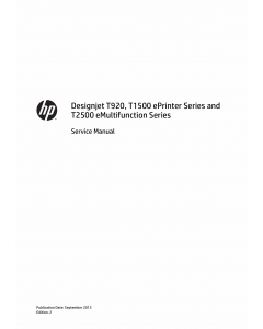 HP DesignJet T920 T1500 T2500 Service Manual