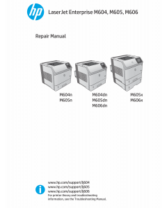 HP LaserJet Enterprise M604 M605 M606 Parts and Repair Manual PDF download