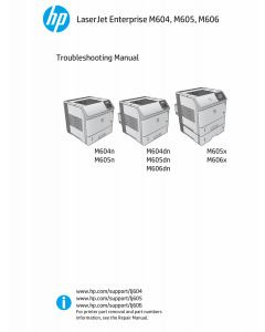 HP LaserJet Enterprise M604 M605 M606 Troubleshooting Manual PDF download