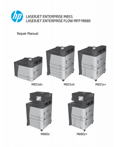 HP LaserJet Enterprise M855 M880 FlowMFP Parts and Repair Manual PDF download
