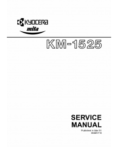 KYOCERA Copier KM-1525 Parts and Service Manual