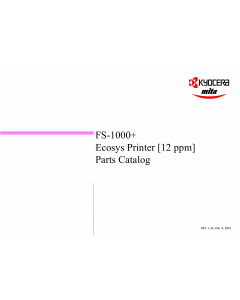 KYOCERA LaserPrinter FS-1000+ Parts Manual