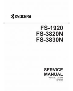 KYOCERA LaserPrinter FS-1920 FS-3820N FS-3830N Parts and Service Manual