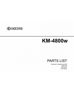 KYOCERA WideFormat KM-4800w Parts Manual