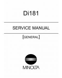 Konica-Minolta MINOLTA Di181 GENERAL Service Manual
