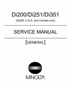 Konica-Minolta MINOLTA Di200 Di251 Di351 GENERAL Service Manual