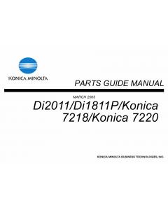 Konica-Minolta MINOLTA Di2011 Di1811P 7218 7220 Parts Manual
