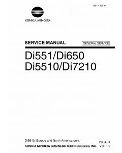 Konica-Minolta MINOLTA Di551 Di650 Di5510 Di7210 GENERAL-SERVICE Service Manual