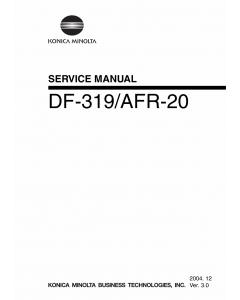 Konica-Minolta Options DF-319 AFR-20 Service Manual
