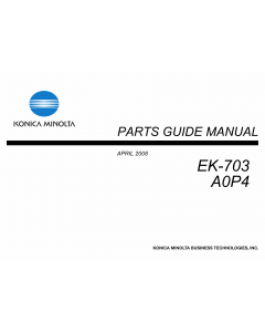 Konica-Minolta Options EK-703 A0P4 Parts Manual