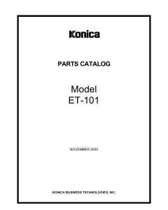 Konica-Minolta Options ET-101 A0GF Parts Manual