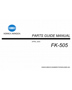 Konica-Minolta Options FK-505 Parts Manual
