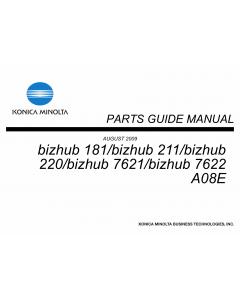 Konica-Minolta bizhub 181 211 220 7621 7622 Parts Manual