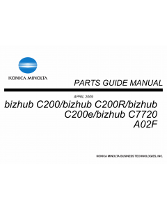Konica-Minolta bizhub C200 C200R C200e C7720 Parts Manual