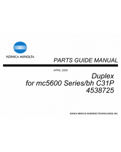 Konica-Minolta magicolor 5650 C31P Duplex 4538725 Parts Manual