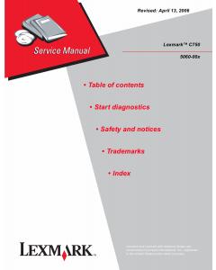 Lexmark C C750 5060 Service Manual
