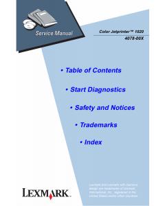 Lexmark ColorJetprinter 1020 4078 Service Manual