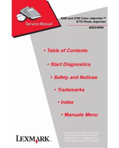 Lexmark ColorJetprinter 5000 5700 5770 4093 Service Manual