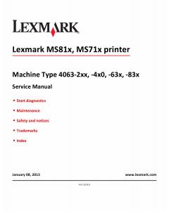 Lexmark MS MS710 MS711 MS810 MS811 MS812 M5150 M5160 M5170 4063 Service Manual