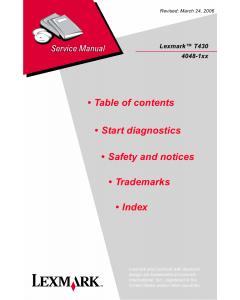 Lexmark T T430 4048 Service Manual