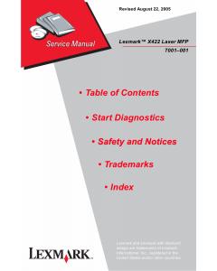 Lexmark X X422MFP 7001 Service Manual