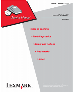 Lexmark X X560nMFP 7105 Service Manual