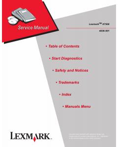 Lexmark X X7500 4036 Service Manual